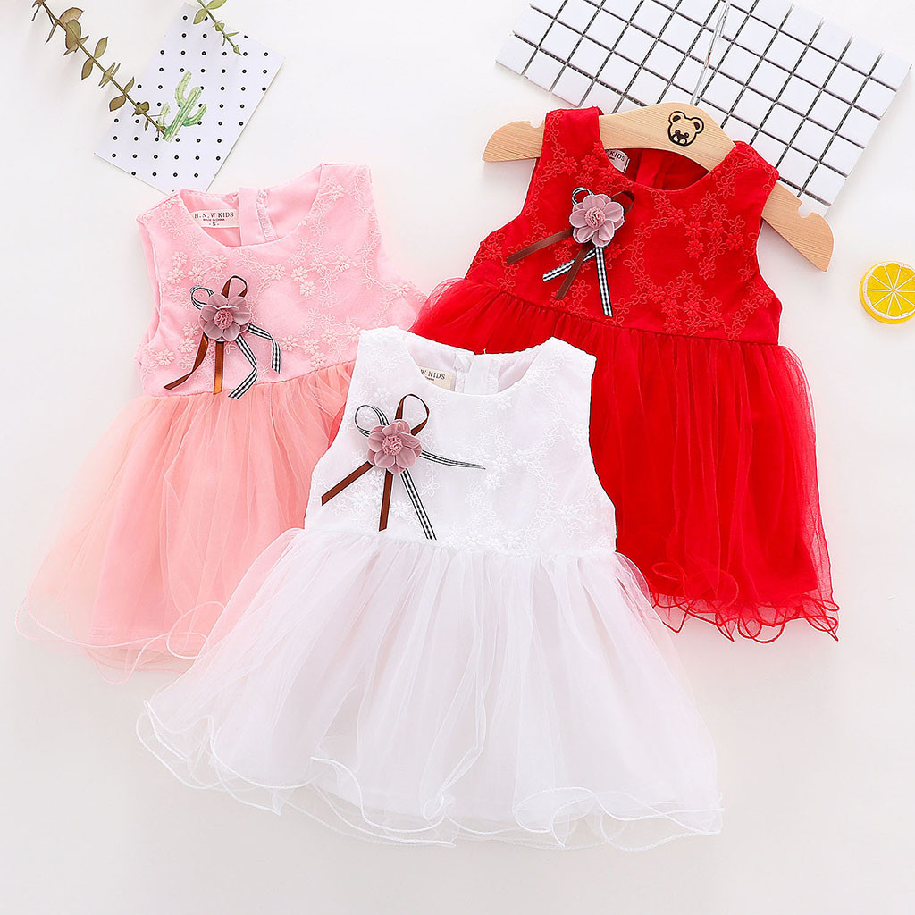 Infant Baby Girls Sleeveless Flower Embroidery Tulle Dress Princess Dresses