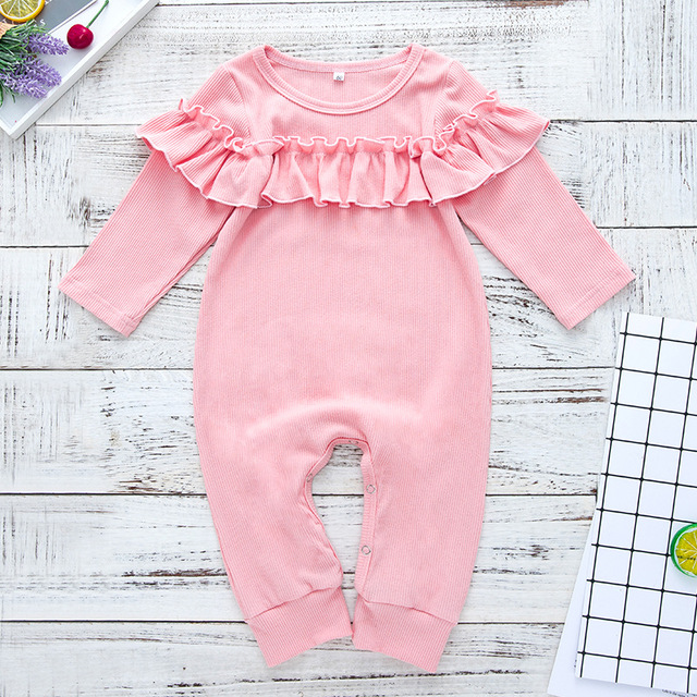da6cf9c02925 24 Months Baby Girl Fall Outfits Rompers Ruffle Toddler Jumpsuit Boutique  Long Sleeve Onesie Designer Baby Clothes