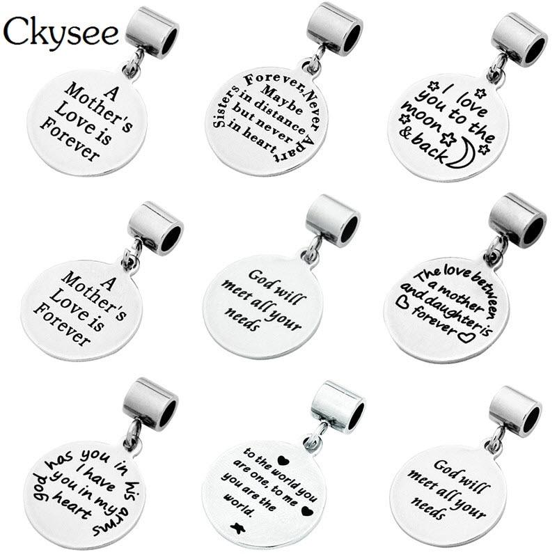 Ckysee 8 Stílusok Ezüst Rozsdamentes Inspiráló Charms A Szerelem - Divatékszer