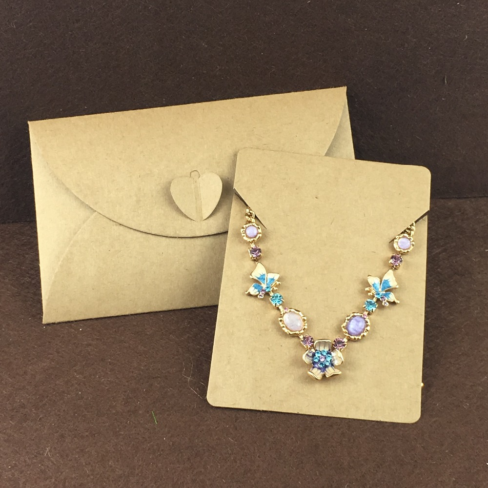 50pcs Kraft Paper Jewelry Bags Necklace Cards Blank Displays Packaging Set Karft Bag Retro Sealing In Display