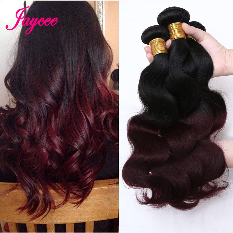 Jaycee Two Tone Brazilian Hair Body Wave Bundles 1b/Burgundy Brazilian Ombre Hair Bundles Colored Human Hair Red Weave