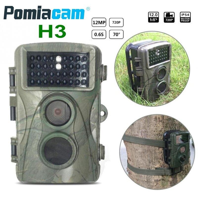 H3 12MP 720 P caméra de chasse étanche caméra de sentier sauvage infrarouge Vision nocturne enregistreur d'observation animale avec support et câble