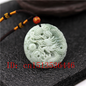الطبيعية الصينية التنين منحوتة قلادة من اليشم الأبيض الأخضر حلية قلادة مجوهرات الأزياء محظوظ تميمة هدايا للنساء رجل M02