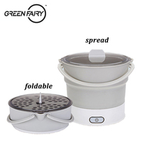 Mini Portable Foldable Electric Multifunctional Steaming Stewing Hot Pot 2 In 1 Silica Gel Saucepot Electric Kettle & Steamer