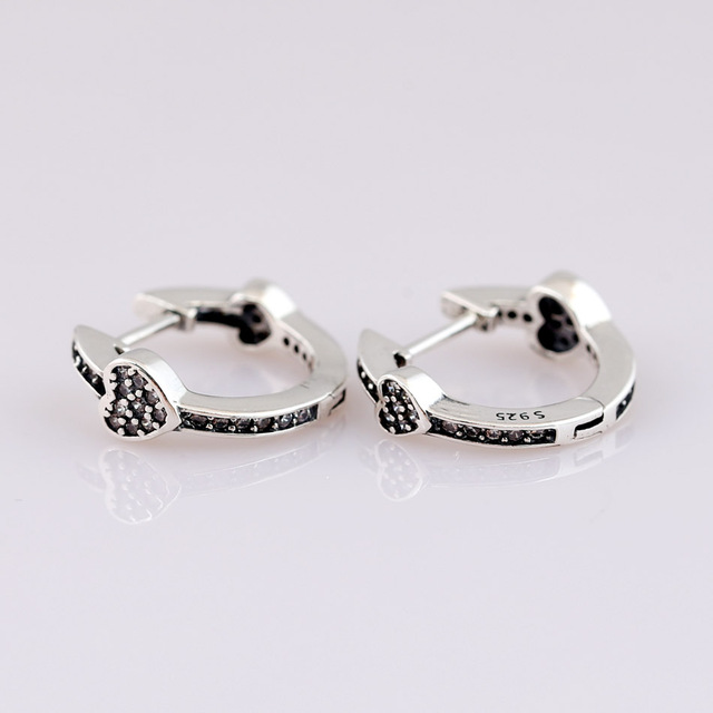 31bf93a1b Authentic 925 Sterling Silver Earring Alluring Hearts With Crystal Studs  Earring For Women Wedding Gift Pandora