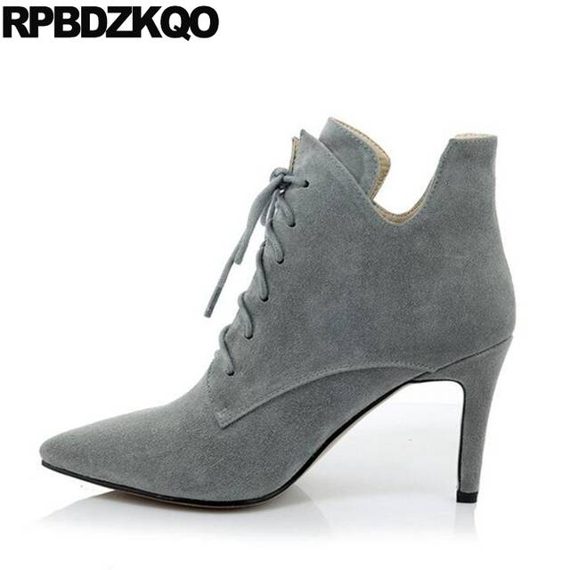 8bac471ddd8 US $59.84 36% OFF|Pointed Toe Suede Shoes Fall Booties Women Sexy Front  Lace Up Casual Ankle Boots Autumn Fur High Heel Gray Fashion Stiletto-in  Ankle ...