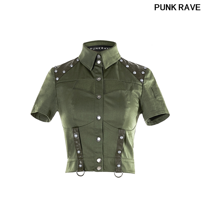6b884758081a7 Fashion Punk Rivet Studded Leather Matching Sexy Military Uniform blouse  Gothic Women Halloween Christmas Shirts PUNK RAVE Y-666