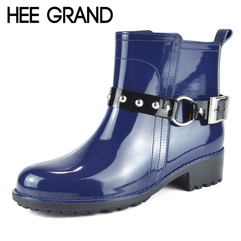 HEE GRAND Fashion RainBoots Round Toe Women Rubber Ankle Boots Slip On Platform Low Heels Shoes Woman Size 36-40 XWX5922 hee grand wedges gladiator sandals summer style women ankle boots platform shoes woman slip on flat open toe women shoes xwz2583