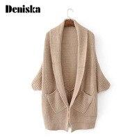 DENISKA Autumn Open Stitch Loose Women Cardigan Plus Size Loose Sweater Long Design Knitwear Coat