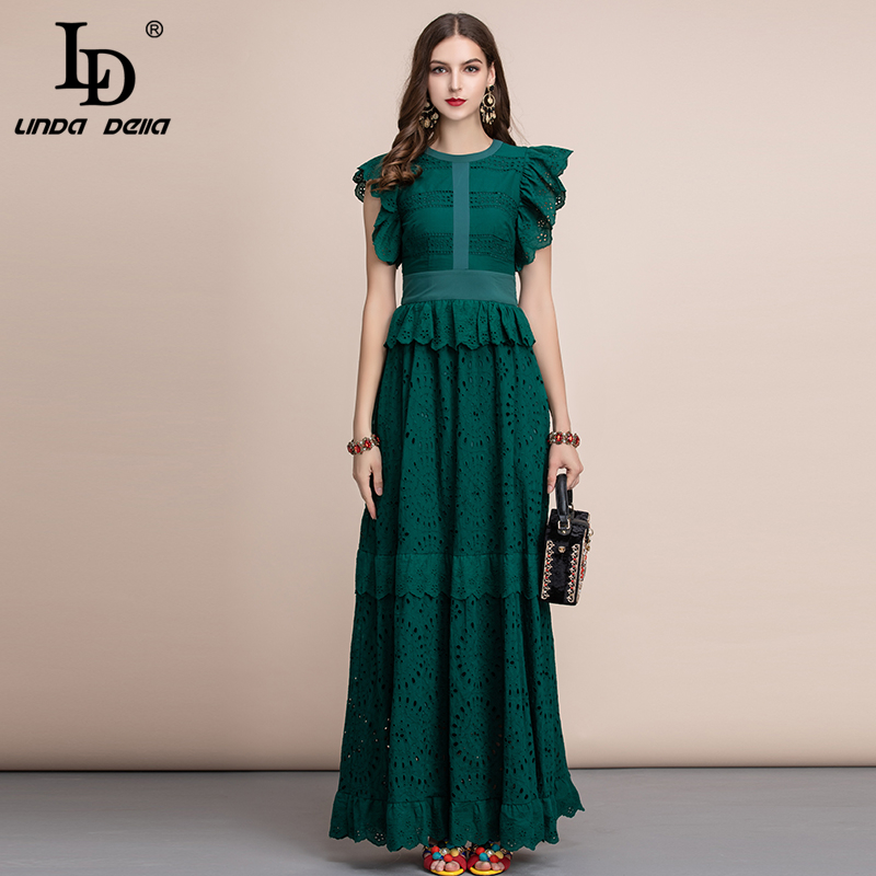 LD LINDA DELLA Autumn Elegant Solid Maxi Long Dress Women's Ruffles Sleeve Front Self Belted Cotton Formal Party Dresses Gown