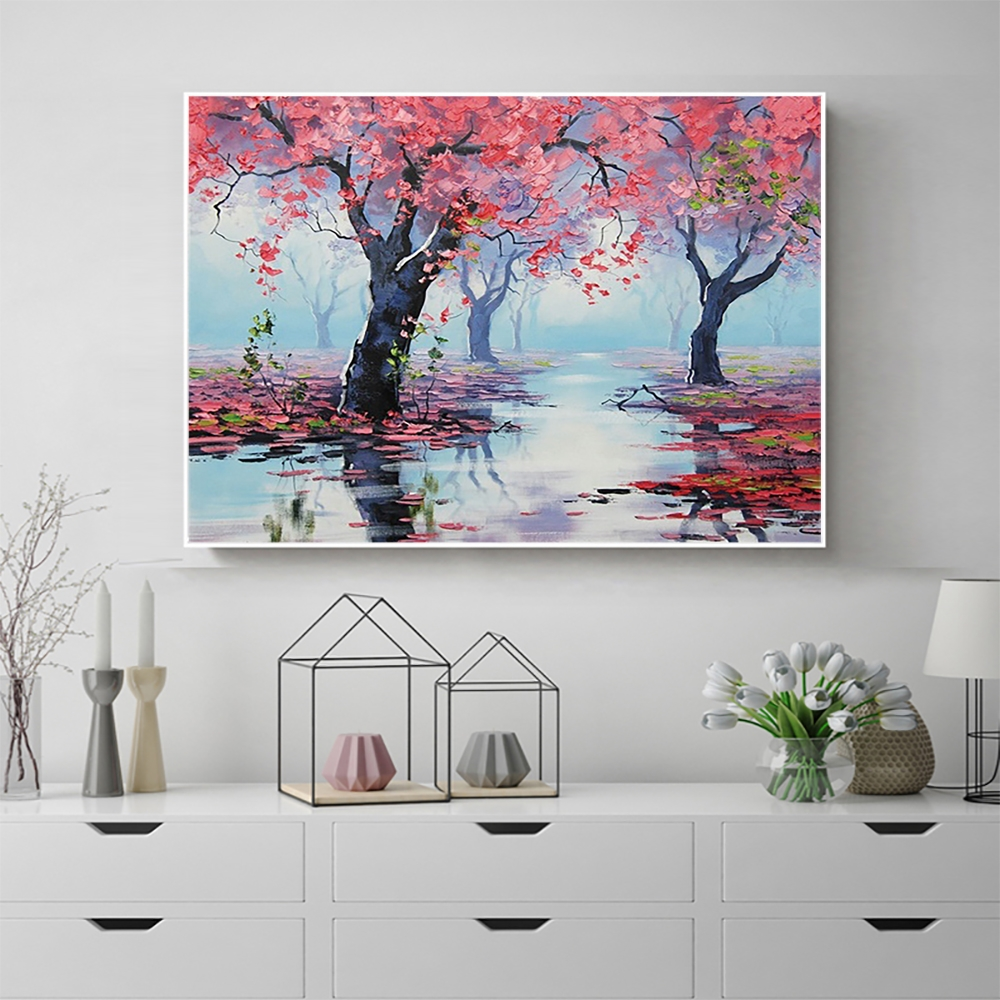 Laeacco Canvas Calligraphy Painting Watercolor Spring Pink Trees Posters Prints Wall Artwork Living Room Home Decoration