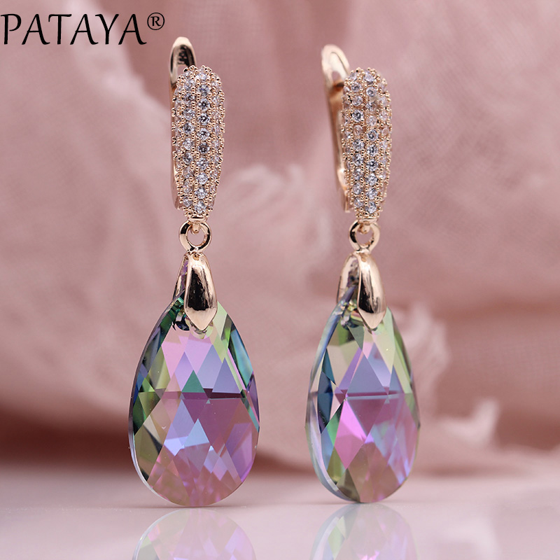 PATAYA New AB Gradient Austria Crystal Long Earrings Women Luxury Water Drop Jewelry 585 Rose Gold Natural Zircon Dangle Earring