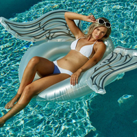 Giant White Angel Wing Inflatable Mesh Pool Float For Women 2018 Newest Summer Adult Swimming Ring Lounge Water Toy boia piscina