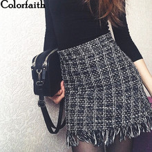 Colorfaith 2018 Women Woolen Mini Skirt Autumn Winter Vintage Straight Plaid Tassel Skater Skirt High Waist Femininas SK5583 cheap Empire Above Knee Mini Casual Fashion