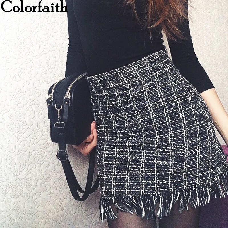 Colorfaith 2018 Women Woolen Mini Skirt Autumn Winter Vintage Straight Plaid Tassel Skater Skirt High Waist Femininas SK5583