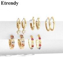 5 Pairs Colorful Zircon Circle Earrings Set 2019 Women Lady Small Fashion Jewelry Classic