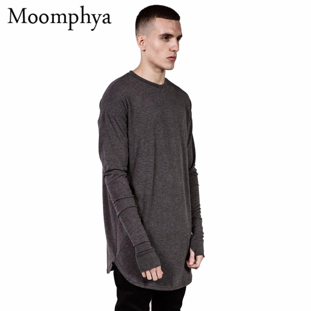 mens hip hop t shirt full long sleeve t shirt with thumb hole cuffs tees shirts curve hem men. Black Bedroom Furniture Sets. Home Design Ideas