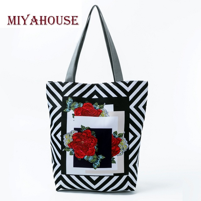 1724d20319 Miyahouse Trendy Floral Printed Canvas Tote For Women Casual Shopping Bags  Striped Design Female Summer Beach