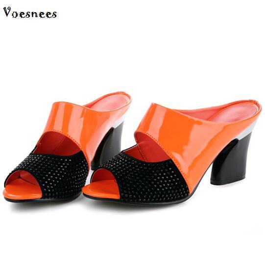 Женская обувь 2018 Летняя обувь из натуральной кожи женские со стразами на высоком каблуке 7 см сандалии разноцветные плюс размеры 34–42 шлепан...