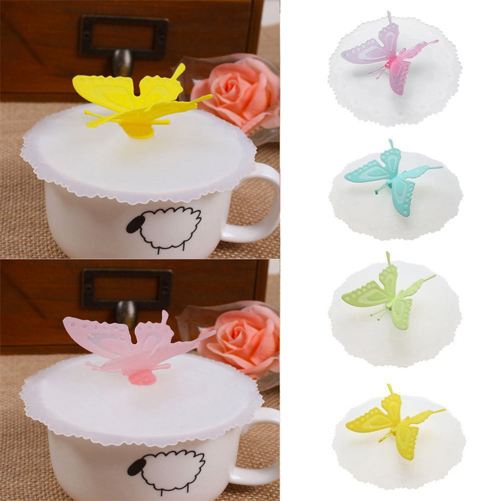 Silicone <font><b>Butterfly</b></font> Leakproof Coffee Mug Suction <font><b>Cup</b></font> Lip Cover Drinkware Water Bottle <font><b>Cup</b></font> Accessories F1029Free Shipping