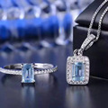 Derongems_Fine Jewelry_Luxury Природных Аквамарин Прямоугольные Sets_S925 Серебро Аквамарин Ювелирные Изделия Sets_Manufacturer Непосредственно Продажу