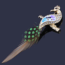 Женская брошь в форме павлина farlena модная виде перьев стразы