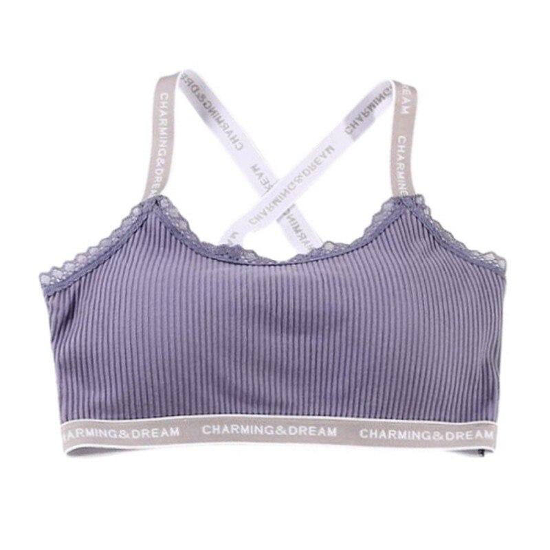 Letter Ribbed Sporty Bra Top Push Up Fitness Bra Underwear 92% Cotton Active Bra For Women Workout Wear Women Sportswear