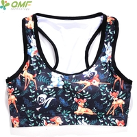 da7729557a2f4 Cartoon Movie Bambi Sports Yoga Bra Seamless 3D Forest Bambisexual Running  Underwear Vest Women Sport Bras