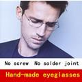 2017 Spectacles Classical Square frame Pure Hand-made glasses men eyeglasses frames men brand screwless with original case