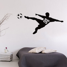 Football Player Personalized Name And Number Wall Sticker Vinyl Art Removable Poster Mural  Boys Teens Bedroom Decoration W23 стоимость