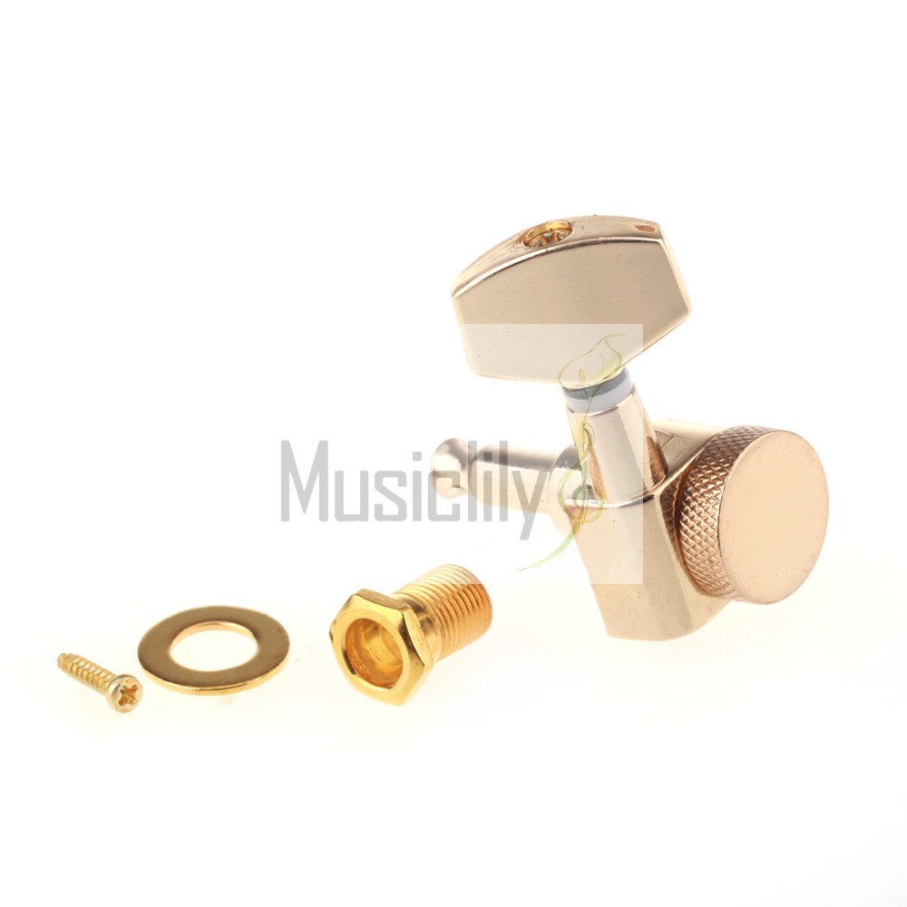 6Pcs / Set 3R3L Gold Guitar Locking String Tuning Pegs Keys Machine Heads Tuners a set of 6 pcs gun color sealed gear string tuners tuning pegs keys machine heads for guitar