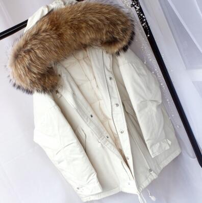 Neue große pelz kragen unten jacke weibliche lange abschnitt Koreanische dicken großen größe trend große pelz kragen kalten damen jacke