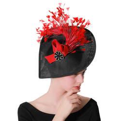 Винтаж черный имитация льняные Fascinators с красный цветок перо горный хрусталь свадьбы церковная фетровая шляпа-таблетка Для женщин котелки
