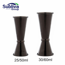 Stainless Steel Japanese Style Gunmetal Black Plated Cocktail Jigger Bar Measuring Cup 1oz/2oz Drink Mixer Cup