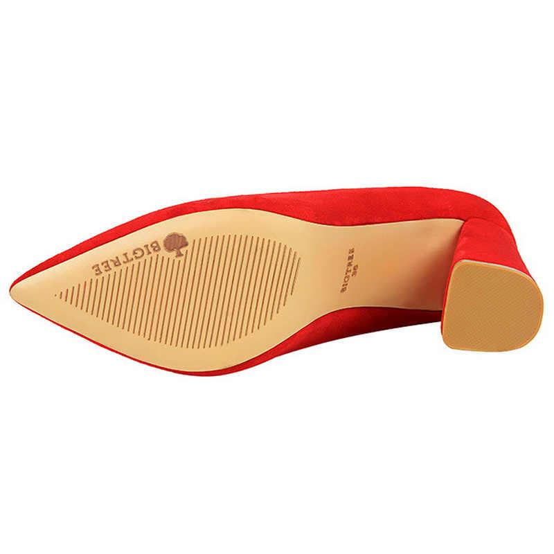 Bigtree Scarpe 2019 Primavera Classico Pompe Scarpe Da Sposa Delle Donne di Colore di Modo di Alta Tacchi Quadrati Tallone Pattini Delle Donne Sexy Del Partito Scarpe