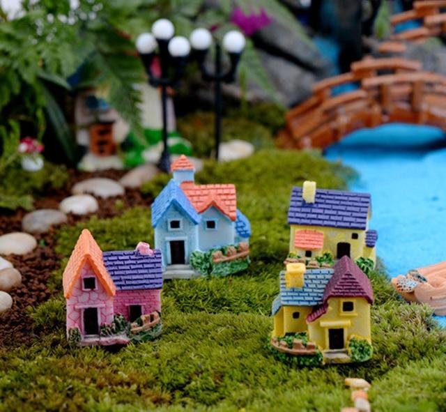 Buy Doll Furnishing Articles Resin Crafts Home Decoration: 4pcs Miniature Village Villa Fairy Garden Gnomes Europe