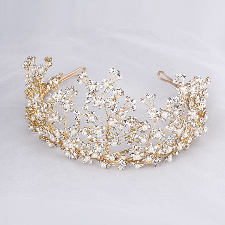 SLBRIDAL Gorgeous Handmade Rhinestones Crystals Pearls Flower Leaf Wedding Tiara Headand Bridal Hair Accessories Princess Crown