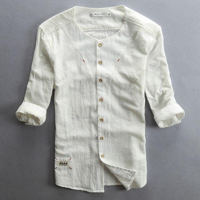 c861db6d82 Hombres calientes de la venta de camisa de lino de algodón de manga tres  cuartos sólido