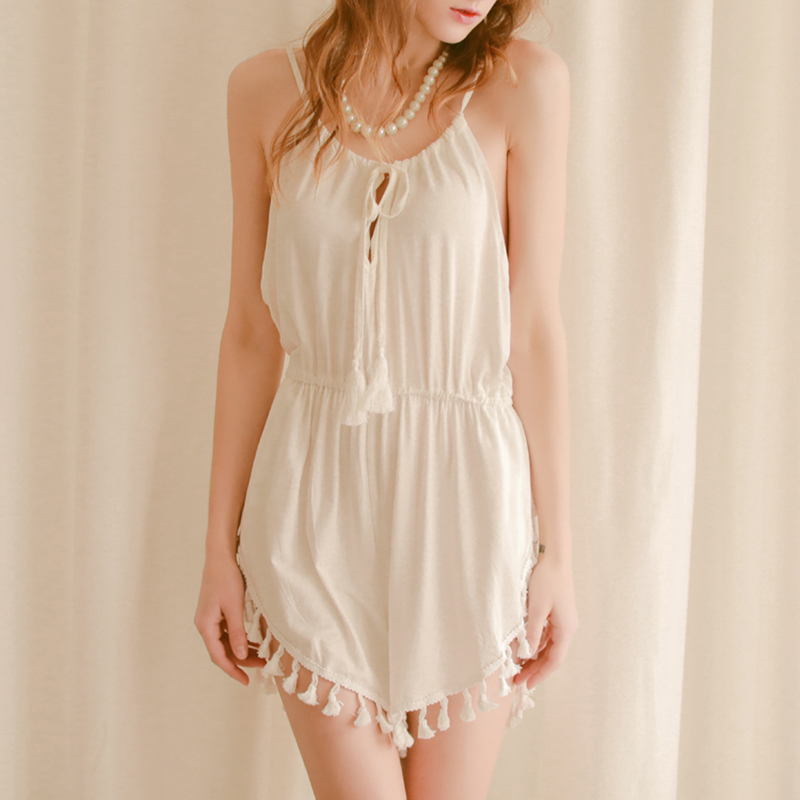 SEXYELF New Fringe Design White Nightdress Exotic Apparel Fancy Clothing Sexy Peignoir Sexy Loose Sexy lingerie Pajamas D 007