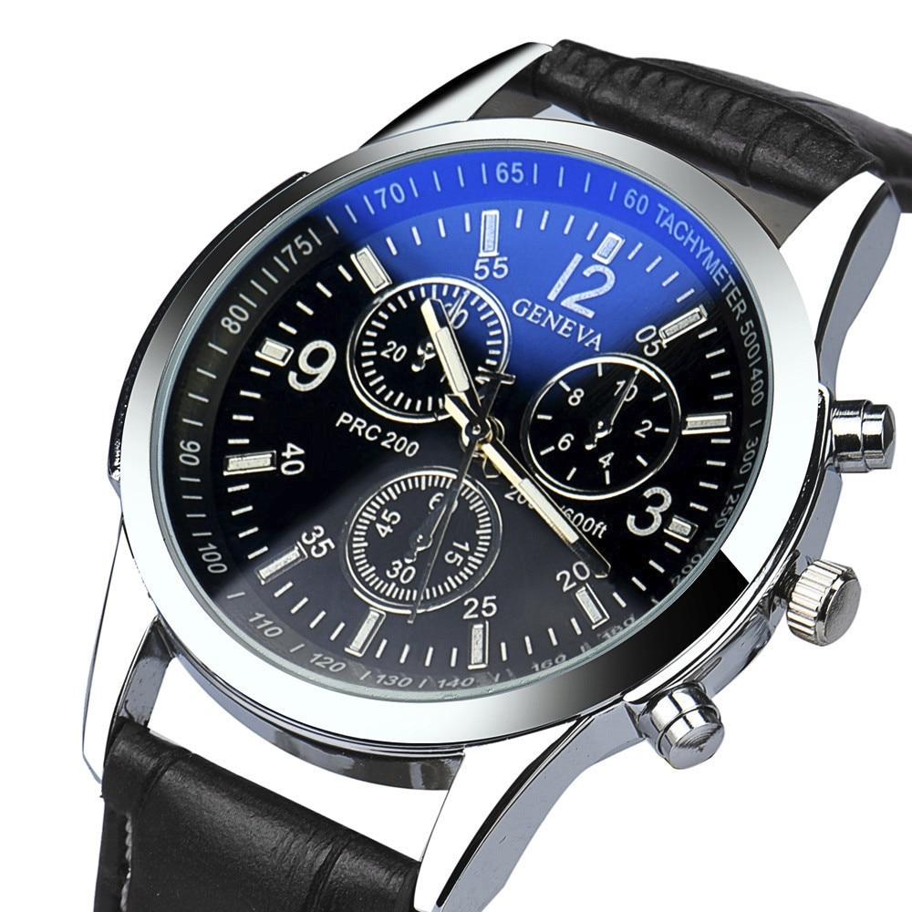 Geneva Quality Brand Watch Men Watches Male Clock Leather Strap Quartz Watch Wrist Calendar Date Quartz-watch Relogio Masculino