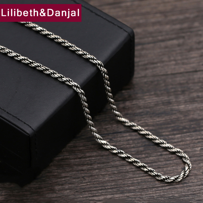 2017 925 Sterling Thai silver Vinage Necklace Men Weave Rope Pendant Long Chain Necklace women Gift Fine Jewelry N22