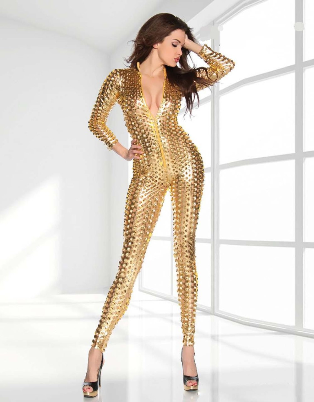 Gold-Metallic-Clubwear-Catsuit-with-Cutouts-W7711A-2