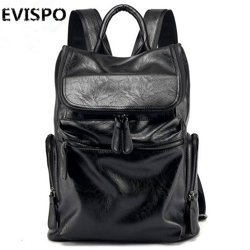 EVISPO High Quality Vintage Unisex 100% Guarantee Real Genuine Leather Backpack Men Women Fashion Designer Brand Travel Bags high quality iron wire frame sun glasses women retro vintage 51mm round sn2180 men women brand designer lunettes oculos de sol