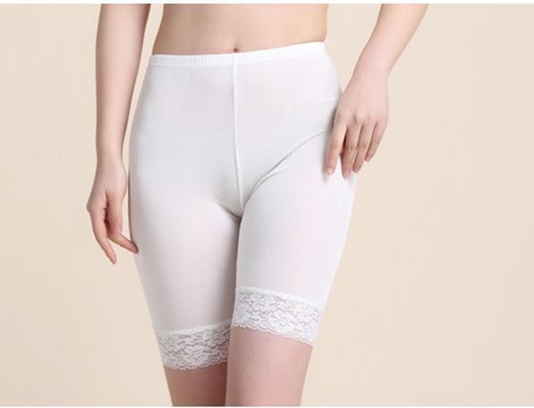 100% Mujeres de Seda de Alta Calidad de Seguridad de Verano Pantalones Cortos Fresco Dobladillo Respaldo Bragas Calzoncillos de Encaje Escritos de Las Mujeres Atractivas bragas