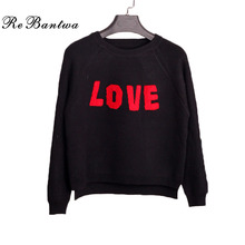 Rebantwa 2016 Short Knitted Sweater Women Winter O-neck Love Heart Print Christmas Sweaters and Pullover Irregular Loose Outwear