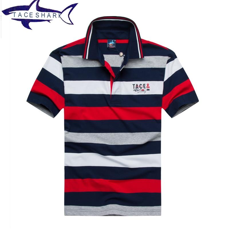 Luxury brand Tace Shark polo shirt men high quality business striped lapel shark logo polo embroidery