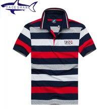 Luxus marke tace & shark polo shirt männer hohe qualität geschäfts gestreiftes revers shark logo polo stickerei camisa polo masculina
