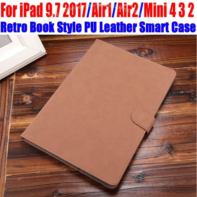 Retro Book Style PU Leather Case For IPad 9.7 2017 Air/Air2 For iPad mini 4/3/2/1 Smart Case Cover for iPad 4/3/2 IM421 retro style cards slot wallet bag smart cover pu leather case for ipad mini 4 3 2 1 im426