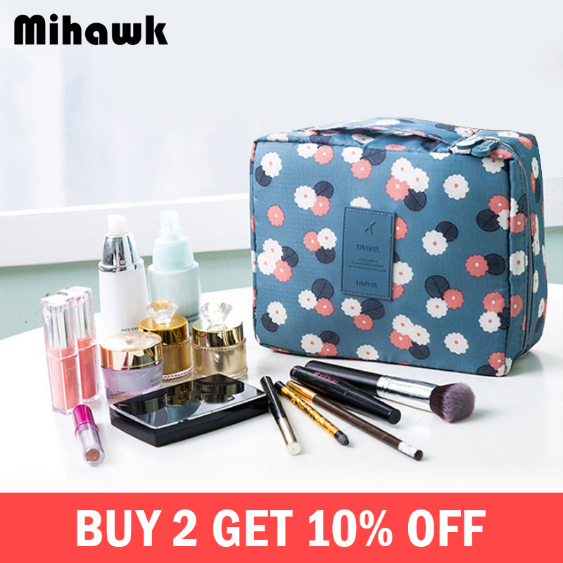 Mihawk Beautician Vanity Necessaire Trip Women Travel Toiletry Wash Bra Underwear Makeup Case Cosmetic Bag Organizer