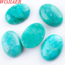 WOJIAER Natural Amazonite Gem Stones Oval Cabochon CAB No Drill Hole 18x25x7mm Jewelry Making 5PCS PU3211